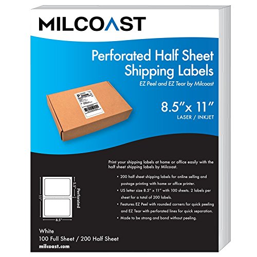 Milcoast Perforated Half Sheet Adhesive Shipping Labels - EZ Peel and EZ Tear, for Laser or Inkjet Printers - for Shipping, FBA, UPS, USPS, FedEx (100 Sheets)
