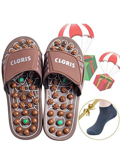 CLORIS Reflexology Foot Massagers Acupressure Massage Slippers for Men Wome, Relief Plantar Fasciitis Heel Arch Arthritis Neuropathy Pain Gift(Men 12+, Women 13+)