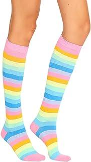 FAMILIZO Calcetines, Mujeres Sexy Mediados De Tubo Calcetines Color Rayas Calcetines Largos Tobilleros Antideslizantes