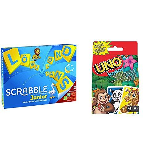 Mattel Games Y9670 - Scrabble Junior Wörterspiel und Kinderspiel, Brettspiele geeignet für 2 - 4 Kinder ab 5 Jahren + GKF04 UNO Junior für Kinder ab 3 Jahren