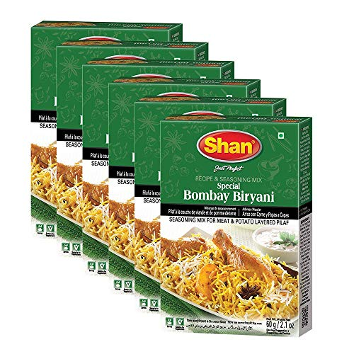 Shan Bombay Biryani Recipe and Seasoning Mix 2.11 oz (60g) - Spice Powder for Meat and Potato Layered Pilaf - Suitable for Vegetarians - Airtight Bag in a Box (Pack of 6)