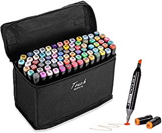 Beauenty 80 Colors Dual Tips Art Alcohol Marker Pens Permanent Sketch Markers Set for Kids and Adult Coloring Painting Man...