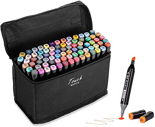 80 Colors Alcohol Markers Dual Tips Permanent Art Markers Pen for Kids & Adult, Alcohol-Based Highlighter Pen Sketch Markers for Painting, Coloring, Sketching and Drawing…