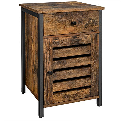 VASAGLE Nightstand with Drawer, End Table with Storage, Shutter Door, Side Table for Bedroom, Living Room, Metal Frame, Industrial Style, Rustic Brown and Black LET063B01