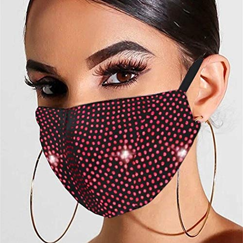 Bmirth Sparkly Rhinestone Mask Red Glitter Crystal Masquerade Ball Halloween Carnival Face Masks Jewelry for Women and Girls (Red)