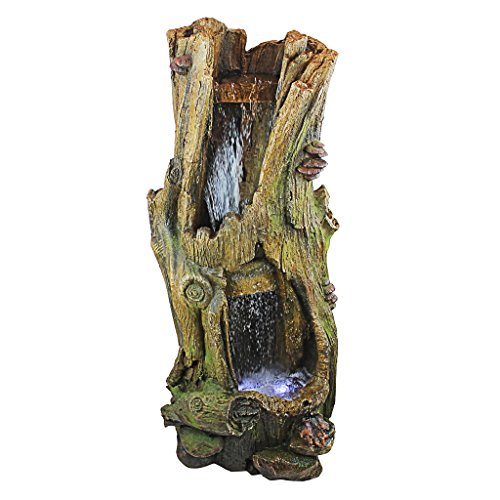 Design Toscano QN1629 Hawksbill Gulch Cascading Waterfall Illuminated Garden Fountain, 41 Inch, Faux Wood
