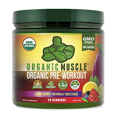 Organic Muscle Pre-Workout Powder - Certified USDA Organic & Vegan with Clean, All Natural Superfood Ingredients for Energy, Focus, Performance & Endurance - Lemon Berry (20 Servings, 5.64 Oz)