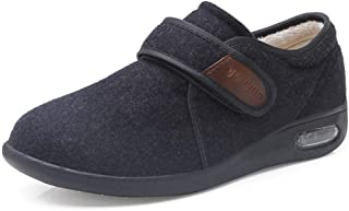 OUCB Zapato Unisex diabética, cálido Invierno Zapatos Artritis Edema Zapatos para Caminar para los pies hinchados de Ancianos Interior al Aire Libre Calzado,Negro,42