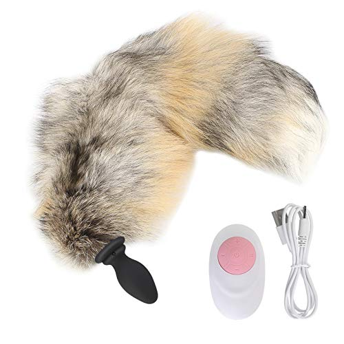 Aạult Entertainment Tọys Women 5 CMchhgrs 10 Frequency Cosplay Tail Anạl Plụg Vịbrạtor sẹx Couples Game-Light Golden