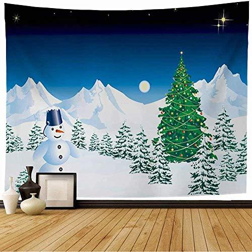 Tapiz de Pared Tapestry Navidad con diseño de Yule Curl Muñeco de nieve Saludo Parques Remolino Navidad Invierno Curva al aire libre Vacaciones Wall Hanging 80X60inch