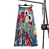 Falda de media longitud con estampado de animales de dibujos animados europeos y americanos, cintura elástica plisada y divertida Azul azul 52