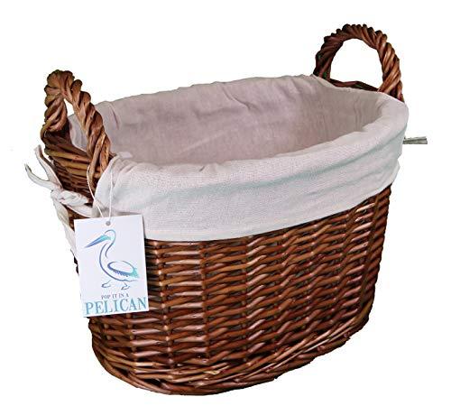 Furniture and your home Oval Natural Todo Color Mimbre (36x 26x 25–tamaño 2(Mediano) algodón Forro Caja de Juguete y de Almacenamiento Conjunto de Almacenamiento de Mimbre (