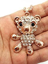 QTMY Bear Crystal Diamond Bear Pendant Long Necklace Chain Jewelry for Women Teen Girls,Gold