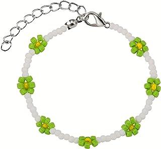 KRKC Bohemia Flower Bead Bracelets for Women Girl,Daisy Colorful Handmade Rice Beaded Bracelets