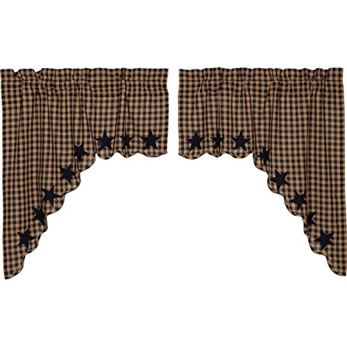 VHC Brands Navy Star Scalloped Swag Set of 2 36x36x16 Country Curtains, Navy and Tan