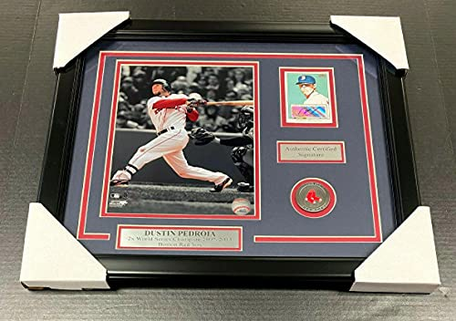 Dustin Pedroia Signed Autographed Card Framed with 8x10 Photo Boston Red Sox - MLB Autographed Baseball Cards