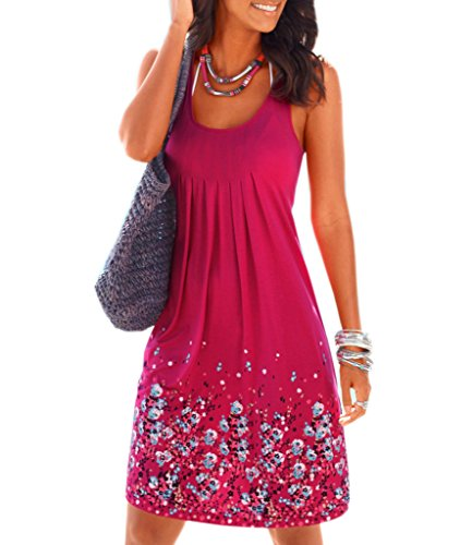 AELSON Womens Summer Casual Sleeveless Mini Printed Vest Dresses,Rose,Small