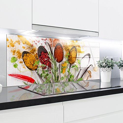 Crédence en verre trempé résistant à la chaleur renforcé décoratifs – 125 x 50 cm – 4 mm d'épaisseur – Parfait Derrière à gaz, EN CÉRAMIQUE et à induc