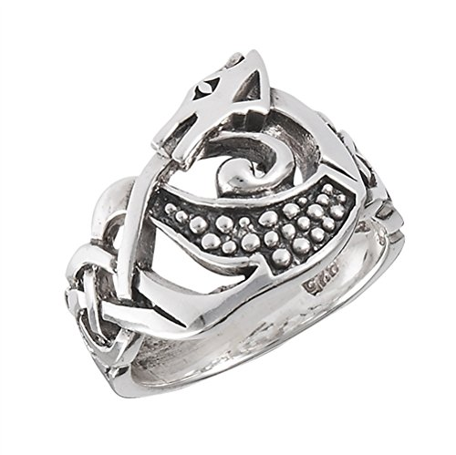 Sterling Silver Celtic Knot DRAGON Ring Size 12(Sizes 4,5,6,7,8,9,10,11,12,13)