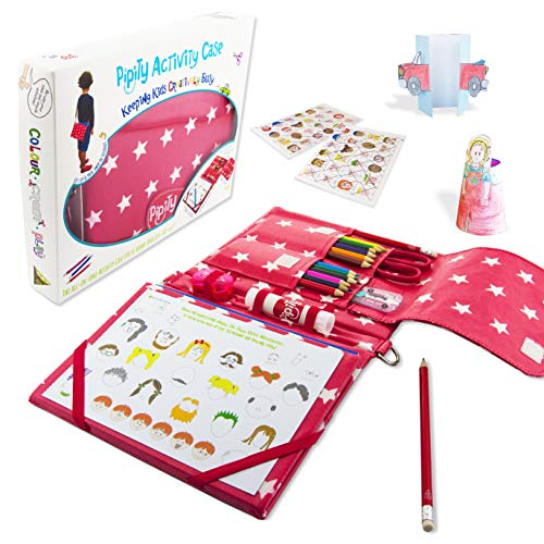 Pipity New Kids Travel Activities Kit. Art Set, Games, Arts and Crafts Activity Books. Great Gifts for Girls and Boys Ages 6 7 8 9 10 Years Old … (Red)