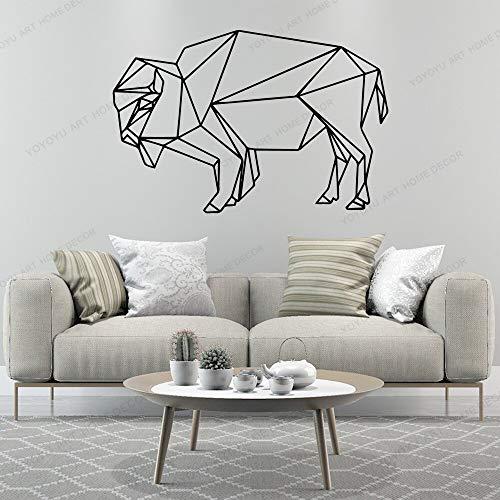 yaonuli Geometrische Stier Wandaufkleber geometrische Vinyl Wanddekoration für Wohnzimmer Kinderzimmer Dekoration Aufkleber Aufkleber Wandbild 79x106cm