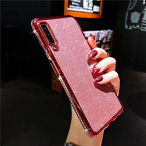 LIUYAWEI Funda de teléfono con Diamantes de imitación para Samsung Galaxy A51 A71 A10 A20 E A30 A40 A50 A60 A70 A80 A6 A7 A8 Plus A9 Cubierta de Diamante Brillante, Oro Rosa, para A5 A520 2017
