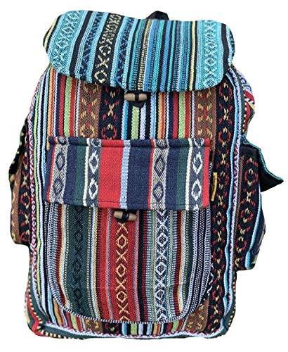 Unique Cotton Backpack Small Backpack Hippie Backpack Festival Backpack Hiking Backpack Patch Backpack| FAIR Trade | Handmade with Love