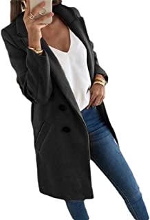 Womens Lapel Long Sleeve Thin Solid Color Double Breasted Coat Outwear Overcoats