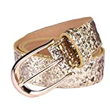 AMI VEIL Sequin Studded Women Leather Belts for Jeans Gold Buckle