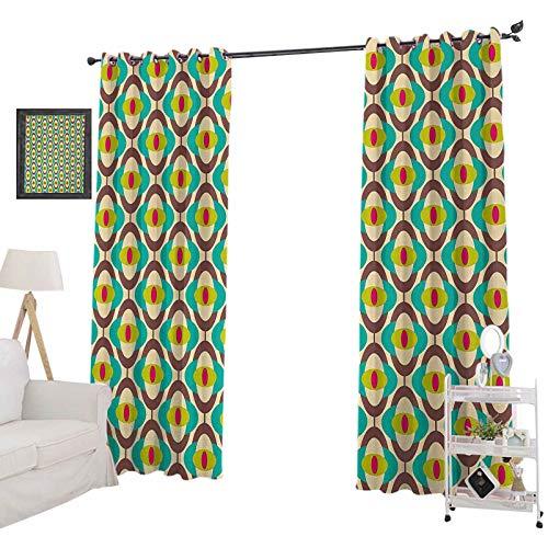 YUAZHOQI Cortinas personalizadas Groovy Bauhaus, diseños artísticos, geométricos, minimalistas, retro, inusuales, cortinas opacas para dormitorio de 132 x 274 cm, multicolor