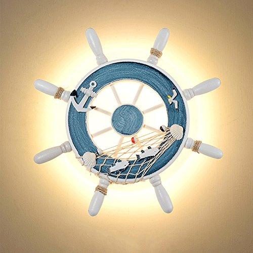 iBalody Lámpara de pared decorativa de estilo mediterráneo Lámpara de pared de LED Helmsman de timón de barco Barco de fondo de cafetería Lámpara de pared de habitación infantil