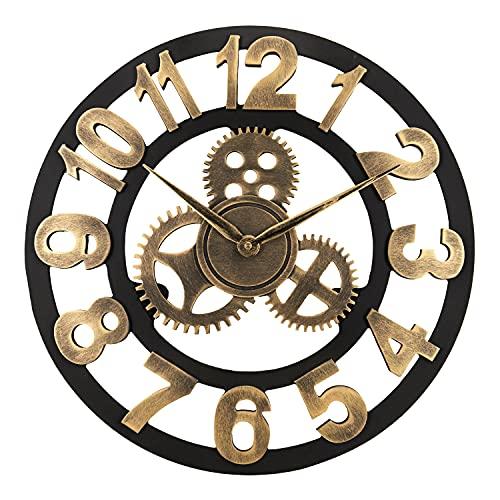 Lafocuse Reloj de Pared Grande Salon Madera 45 cm Dorado Engranajes Industrial Silencioso Vintage Reloj de Cuarzo Números Arabes para Bar Cafetería