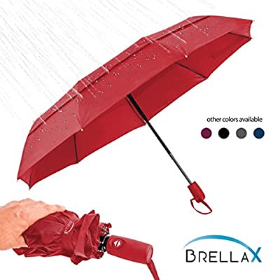 Brellax Travel Umbrella Windproof for Women and Men - Compact Umbrella with Case - Lightweight, Portable - Auto Open and Close - Ergonomic Handle - Double Canopy - Red