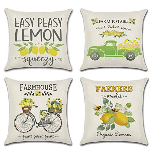 MOLECOLE 4 Pack Summer Lemon Throw Pillow Covers,Summer Lemon Pillow Covers Buffalo18x18 Inches Summer Decorations Farmhouse Pillowcase Cotton Linen Cushion Case Home Decor for Car Sofa Bed Couch