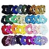 EasyULT Samt Haargummis[36 Stück], 36 Farben Bunte Elastische Gummibänder Haarbänder Scrunchies, Pferdeschwanz Haarband Haaschmuck für Mädchen Damen Haarschmuck