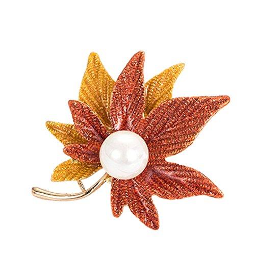 TENDYCOCO Pañuelo de Seda en Forma de Flor en Forma de Broche de aleación de Hoja de Arce (Estilo 3 a 5 cm)