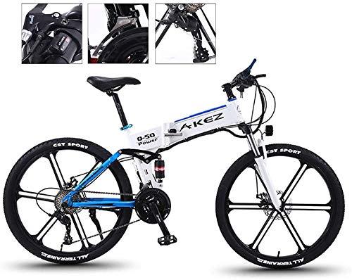 Bicicleta eléctrica plegable de alta velocidad de 26 pulgadas, bicicleta eléctrica de montaña, ligera, plegable, para adultos de 21 velocidades y tres modos de trabajo para viajes y ocio (color azul)