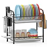 Dish Drying Rack, iSPECLE 2-Tier 304 Stainless Steel Dish Rack with Utensil Holder