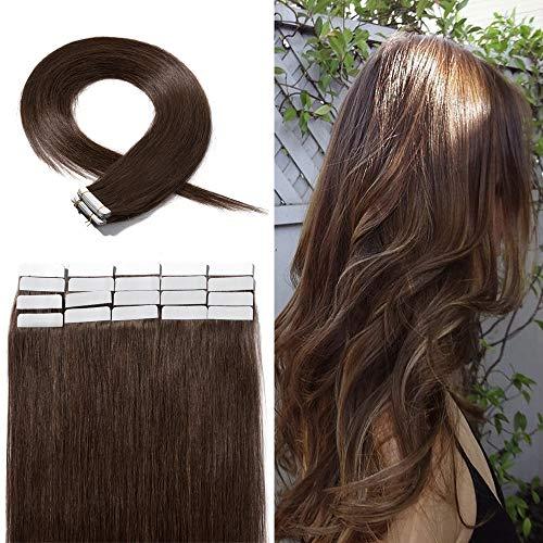 Extension Adhesive Naturel Rajout Cheveux Naturel 100% Cheveux Humain Remy Pose a Froid 20 Pièces (#04 Châtain, 12\