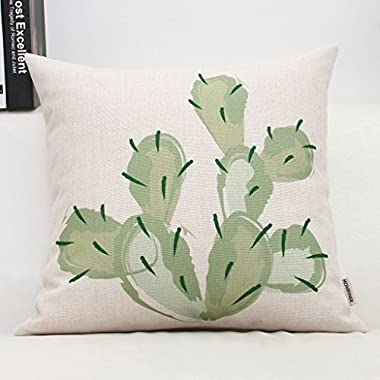 HOMFINER Throw Pillow Case for Outdoor Home Decor, Cute Cactus Floral Pattern, 18x18 Inches, Green