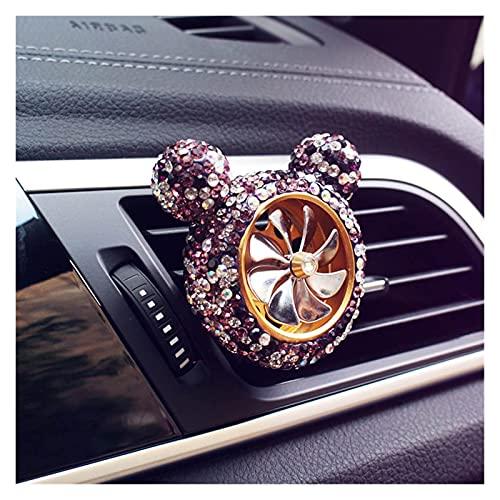 SHENYUMING Bling Crystal Car Aire Acenizador Automóvil Perfume Vent Clip Clip Diamond Rhinestone Lindo Dibujos Animados Mickey Ornamentos Accesorios para Coche para Mujeres ( Color Name : Purple )
