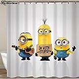pobpop Yellow Shower Curtains Mischievous Minions Series Shower Curtains Bath Curtain Polyester Waterproof Bathroom Curtain Or Mat (4)
