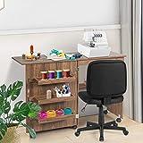RELAX4LIFE Faltbarer Nähtisch auf Rollen, Nähmaschinenschrank aus Holz, Nähschrank, Mehrzwecktisch, ideal für Wohnzimmer, Schlafzimmer und Arbeitszimmer (Braun) - 9