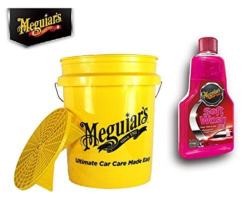 Preisvergleich Produktbild Meguiar's PRAKTISCHES Premium AUTOWÄSCHE-Set! WASCHEIMER Eimer GRIT Guard 18, 9 L + Shampoo Soft WASH Gel 473 ML