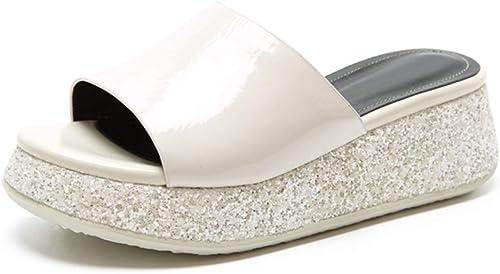 ZHOUYANBINTX ZHOUYANBINTX Pantoufles Plates en Cuir d'été, Fond épais, vêteHommests d'extérieur, Chaussures pour Femmes  bas prix