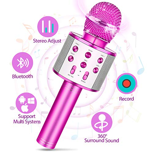 Tesoky Toys for 3-12 Year Old Kids, Karaoke Microphone for Kids Wireless Bluetooth Microphone for Kids Stocking Stuffers for 3-12 Year Old Boys Girls Xmas Gifts for 3-12 Year Old Girls Boys (Purple)