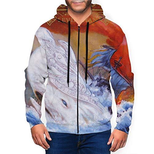 Sangecjl Mastodon Leviathan Hoodie Mens Full Zip Jacket Long Sleeve Sweatshirt Black