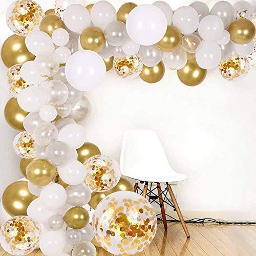 Arche Ballon, Kit de Guirlande de Ballon, 102PCS Ballon Blanc Argent et Or & Ballon Confettis pour Noël, Mariage Anniversaire Saint Valentin, Fond fête décoration Fournitures