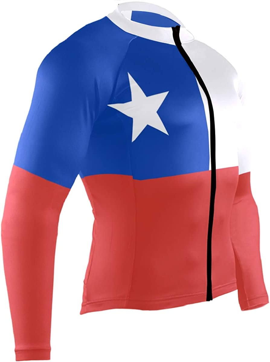 CHINEIN Mens Cycling Jersey Long Sleeve with 3 Rear Pockets Suit Chile Flag