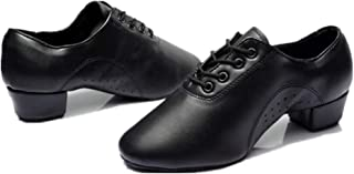 lcky Men's Laced Black Leather Latin Shoes Modern Dance Shoes